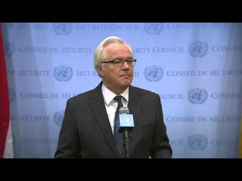 Vitaly Churkin (Russian Federation) on Ukraine - Security Council Media Stakeout (28 February 2014)