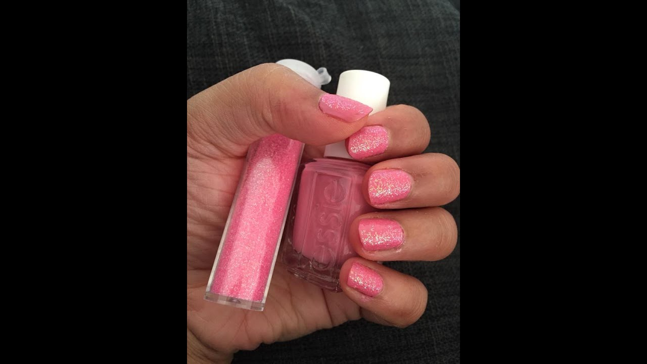 Spring Essie Cutex I AM STRONG Pink With Glitter