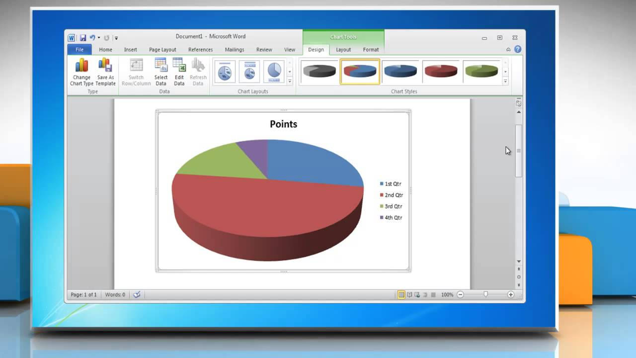How To Make A Pie Chart In Word 2010 Youtube