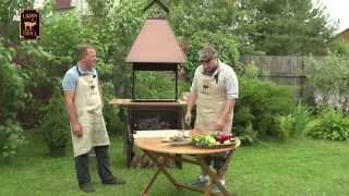 Приготовление форели на рыбном модуле в дровяном гриле барбекю Lappigrill-VS