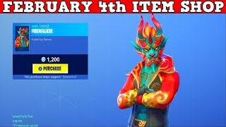 Fortnite Item Shop (FEBRUARY 4th) | *NEW* FIREWALKER SKIN + OUTBURST PICKAXE! Golden Clouds Wrap!