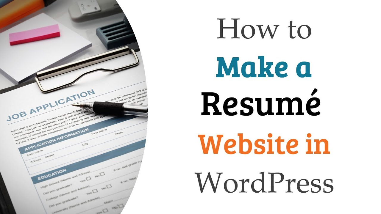 How To Make A Resume Website How To Make A Resumé Website In Wordpress