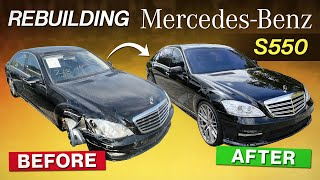 REBUILDING A SALVAGE MERCEDES S550 / S65 AMG CONVERSION IN 15 MIN INCREDIBLE REBUILD TRANSFORMATION