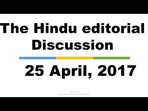 Hindi, 25 April,2017  The Hindu Editorial Discussion, NiTi aayog, Paris Climate change agreement,