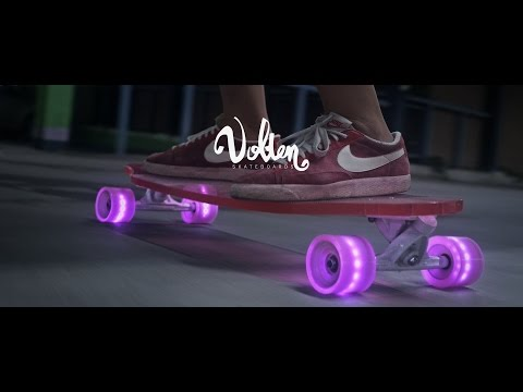 Longboard love - Volten clear skateboards + LED wheels - glow in the dark,  skate the night