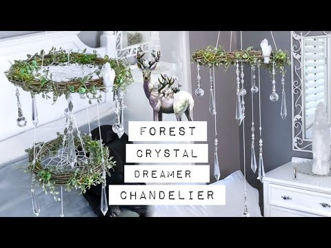 DIY Enchanted Forest Chandelier Dreamcatcher - Crystal Mobile