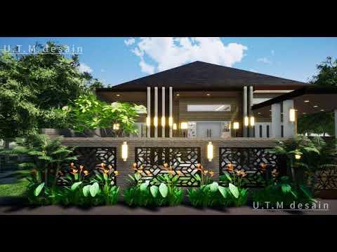 desain rumah minimalis modern tropis 1 lantai kayu, atap