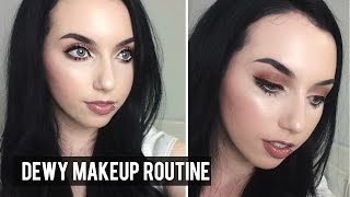 DEWY SKIN MAKEUP ROUTINE | Full Coverage Pale Skin Foundation