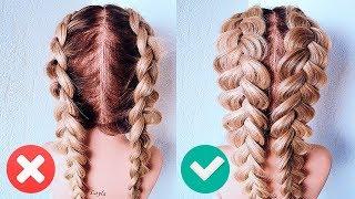 Две ФРАНЦУЗСКИЕ КОСЫ НАОБОРОТ. Прически для Девочек. How To: Double Dutch Braid | Hair Tutorial