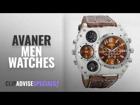 10 Best Selling Avaner Men Watches [2018 ]: Avaner Mens Military Quartz Wrist Watch Brown PU Leather