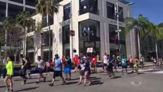 The Los Angeles Marathon runners are here on Rodeo Drive in Beverly Hills. Good luck everyone!