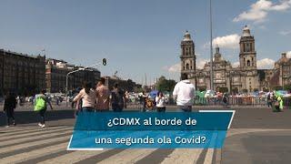 La alerta de un nuevo cierre de actividades por el aumento en el número de hospitalizaciones por Covid-19 pasó desapercibida por los capitalinos, quienes desbordaron las calles del primer cuadro de la capital del país