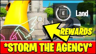 LAND AT THE AGENCY LOCATION & SURVIVE STORM CIRCLES (Fortnite STORM THE AGENCY Challenges & REWARDS)