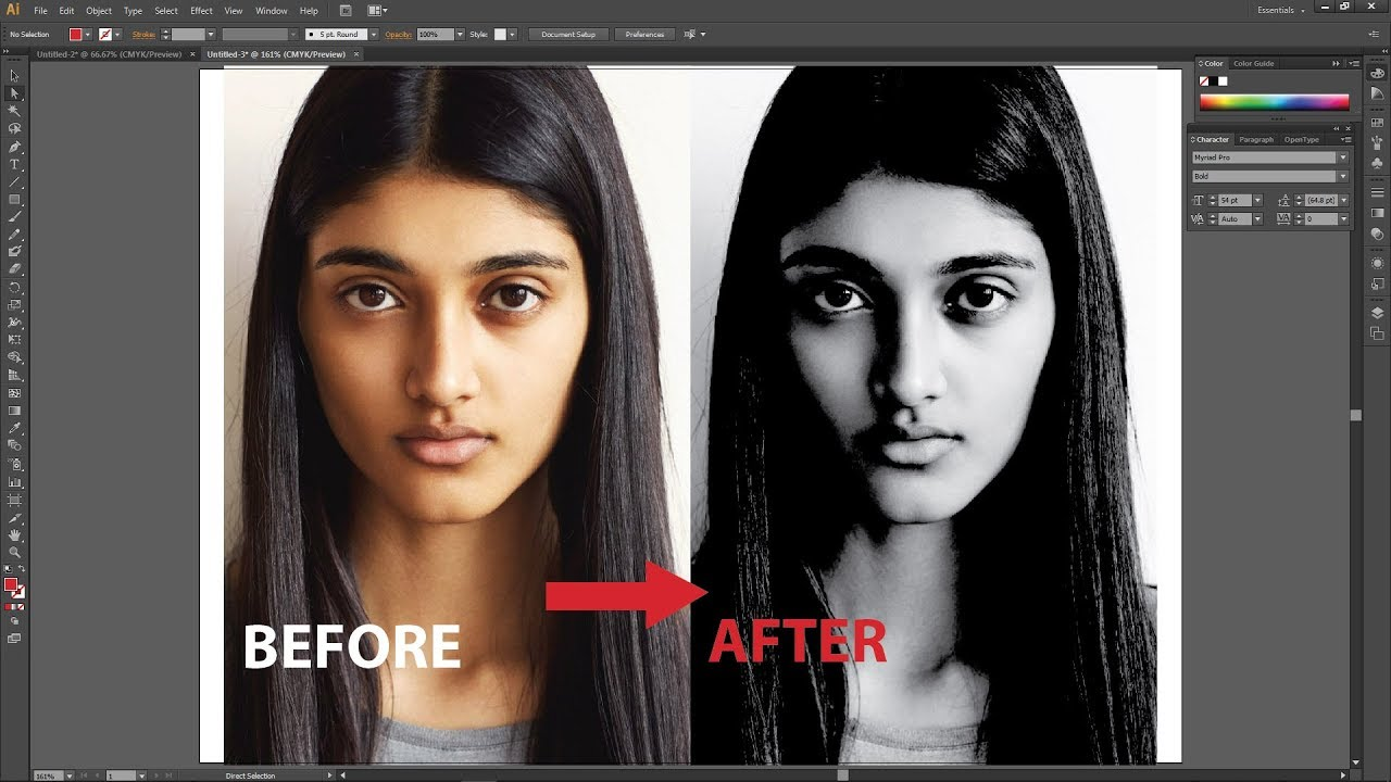 How to convert color image to grayscale in illustrator tamil
