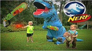 Jurassic World Fallen Kingdom T-REX ATTACK! Nerf battle Kyle vs T-rex