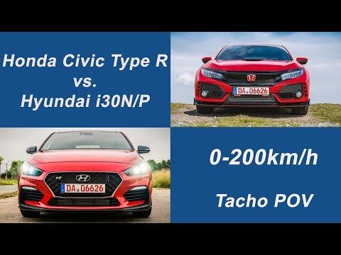 Honda Civic Type R vs. Hyundai i30N Performance - 0-200km/h Tacho POV