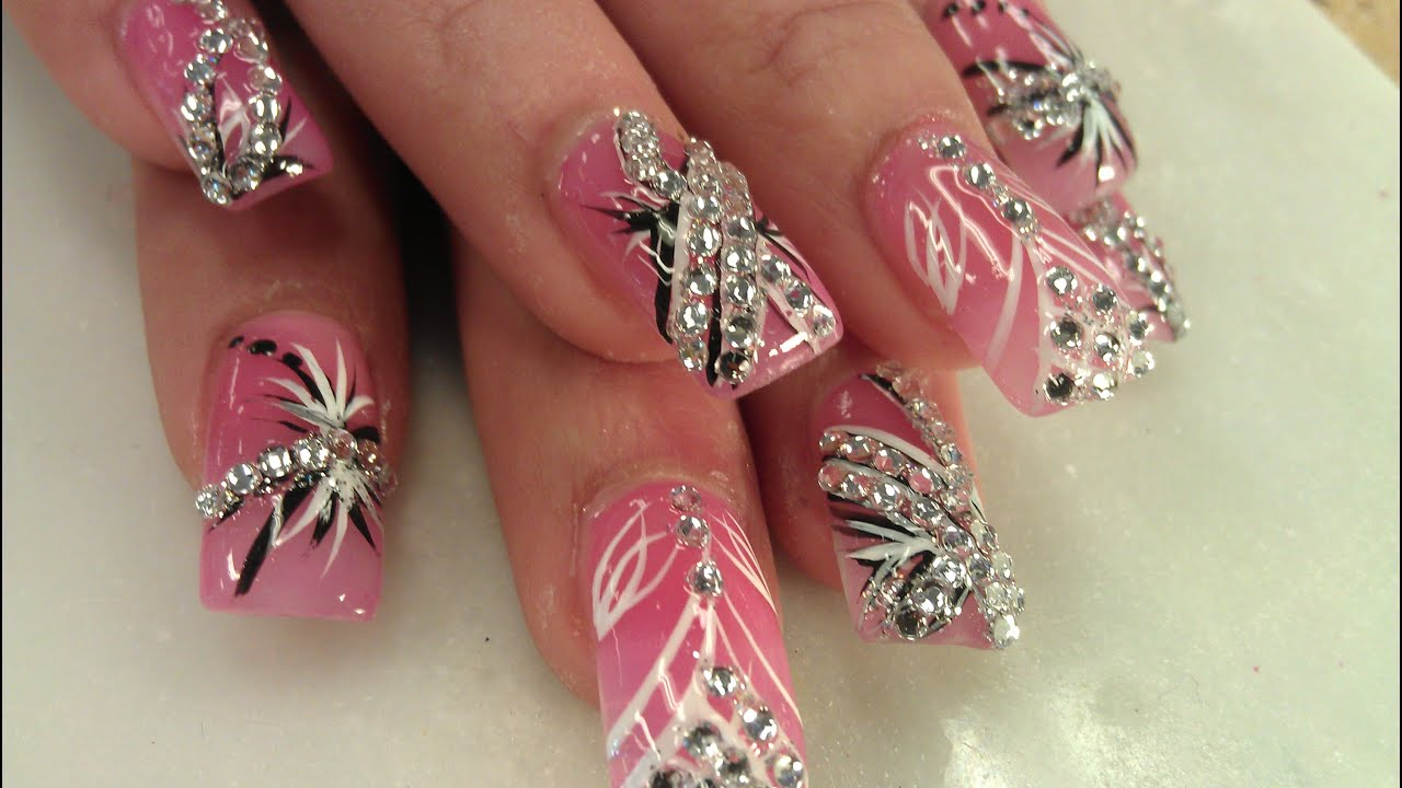 Beautiful Pretty Diamond Nail Designs Youtube pertaining to acrylic nail designs diamonds intended for your inspiration