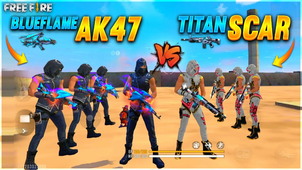 BlueFlame Ak47 Vs Titan Scar Factory challenge 😂 | 4 Vs 4 Who Will Win ? - Garena Free Fire