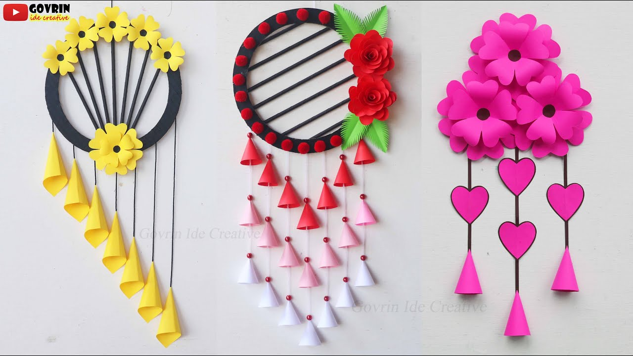 3 Easy and Quick Paper Wall Hanging Ideas / A4 sheet Wall decor / Cardboard Reuse /Room Decor DIY