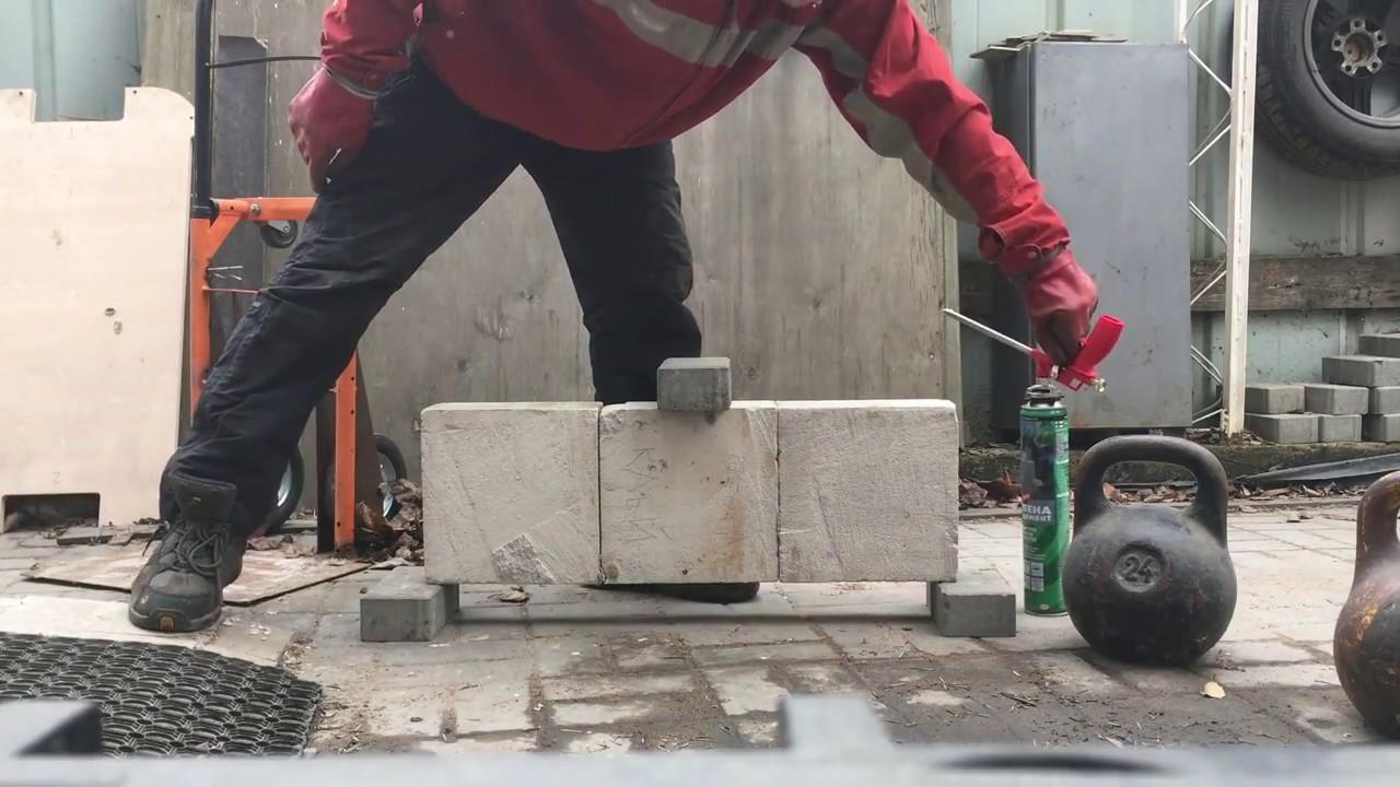 Тест газобетонного клея и цемент-монтажной пены для газобетонных перегородок.