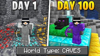 I Survived 100 Days Of Hardcore Minecraft, In A Cave Only World