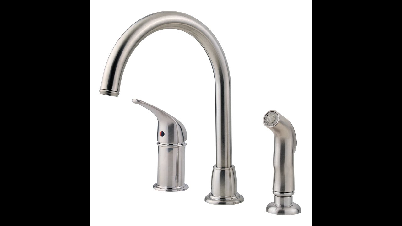 Pfister Cagney 1-Handle Kitchen Faucet with Side Spray, Stainless ...