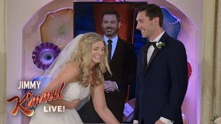 Jimmy Kimmel & Celine Dion Surprise Couple Getting Married in Las Vegas