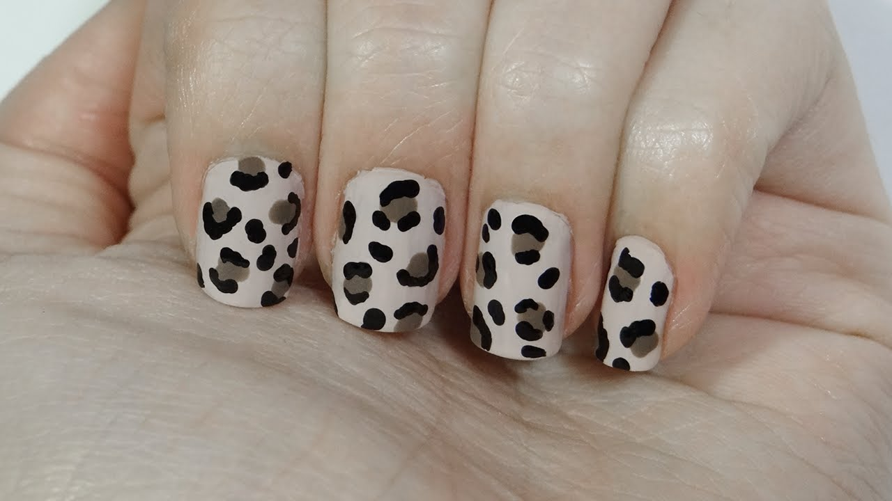 Uñas Con Estampado De Leopardo O Leopard Print Nails Youtube