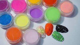 AliExpress: цветная акриловая пудра, шармиконы, кисть для вензелей