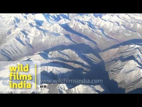 Ladakh range peaks seen aerially in morning light