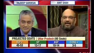 Amit Shah interview to Rajdeep Sardesai on Exit poll figures for NDA on CNN IBN (13 May 2014)