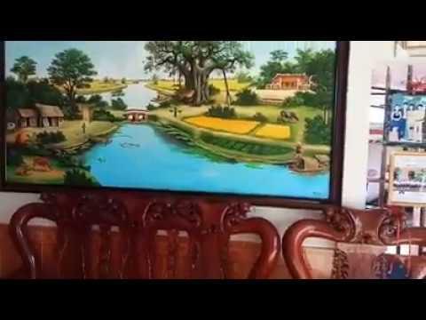 Vẽ tranh tường phong cảnh cây đa bến nước con đò tại Thanh Xuân, Hà Nội – Vẽ tranh nghệ thuật cực đẹ