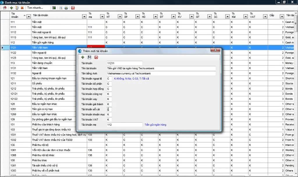 Khai báo danh mục tài khoản – Phần mềm kế toán 3TSoft