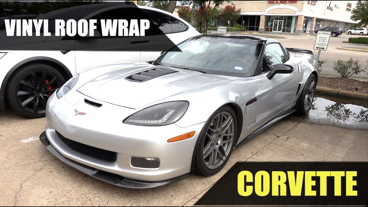 Chevrolet C6 Corvette Gloss Black Vinyl Wrap Roof Door Handles Youtube
