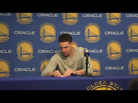 Klay throws paper airplane at media: 'I make the best paper airplane on the West Coast'