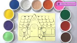 Đồ chơi TÔ MÀU TRANH CÁT NGÔI NHÀ BÁNH KẸO - Colored sand painting candy house toys (Chim Xinh)