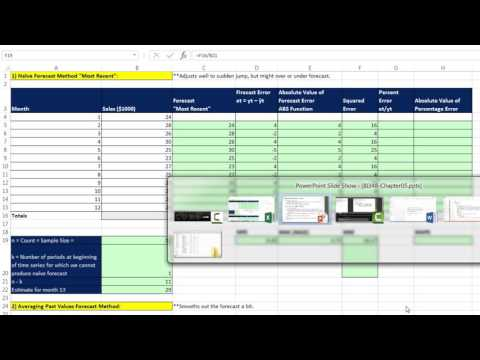 Basic Excel Business Analytics #54: Basic Forecasting Methods & Measures of Forecast Error