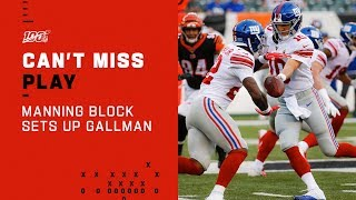 Eli Manning Block Paves Way for Gallman!