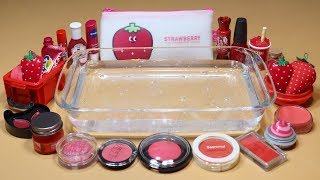 """STRAWBERRY"" Mixing ""RED"" Makeup,glitter Into Clear Slime! ""STRAWBERRY SLIME"""
