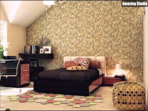 Rot Schwarz Beige Schlafzimmer Tapete