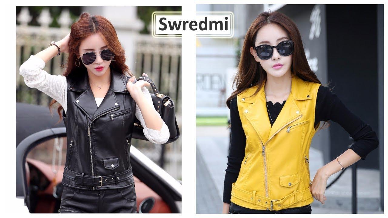 Верхняя одежда с Aliexpress - Swredmi Модная кожаная куртка .