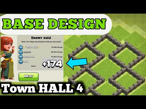 Clash Of Clans - Best Town Hall 4 Defense (base Design) | Th4 Base | Town Hall 4 Base