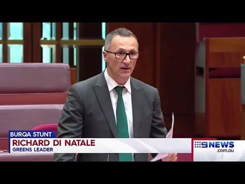 Burqa stunt: Richard Di Natale describes Pauline Hanson's views as 'hateful, ignorant & bigoted'