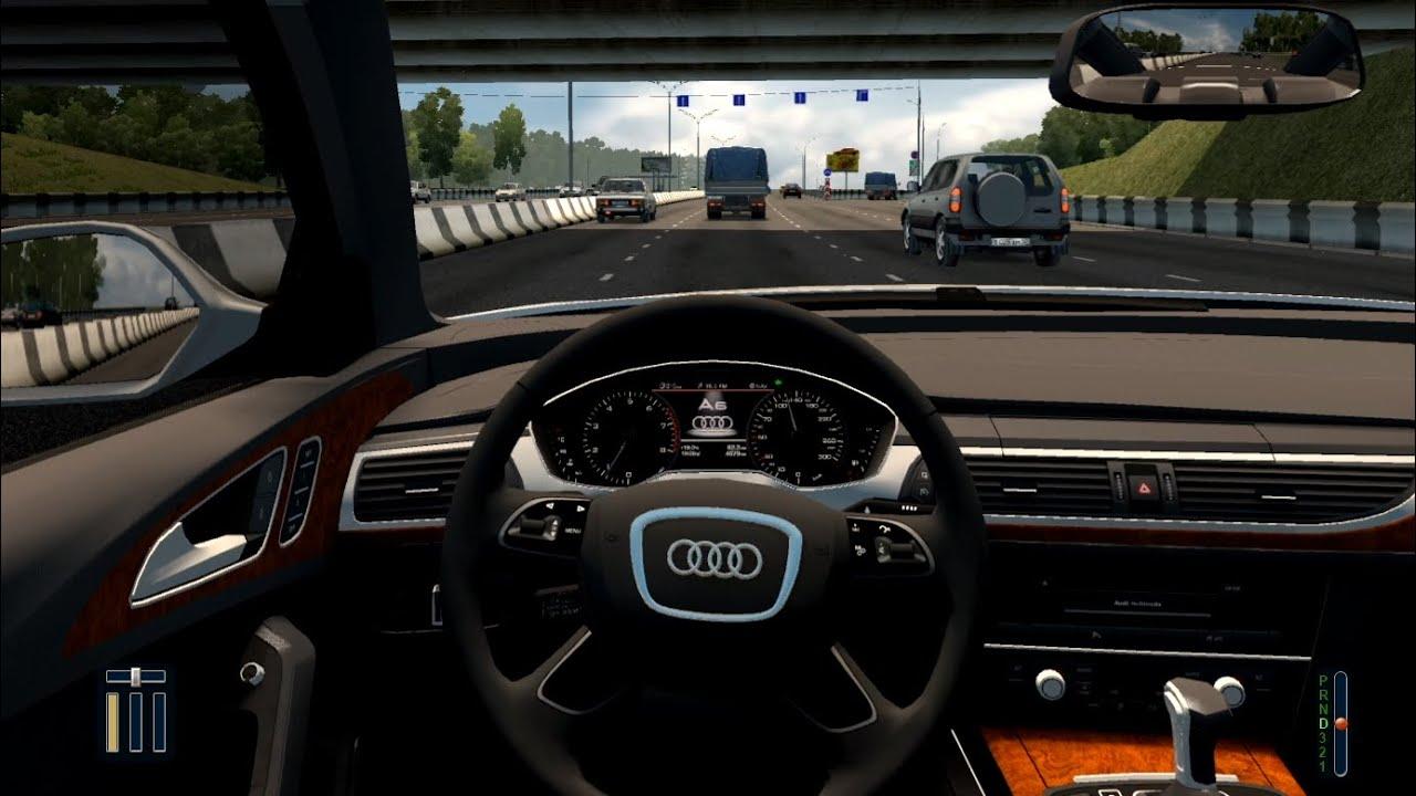 Audi A6 3.0 TFSI Quattro - City Car Driving [Steering wheel gameplay]