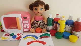 learn colors from paint/baby doll pretend to play magic microwave oven/giant paint magic oven 4 kids