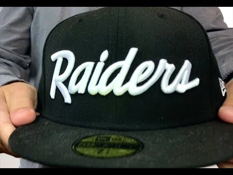 92afa4501d6 Raiders  NFL TEAM-SCRIPT  Black Fitted Hat by New Era - YouTube
