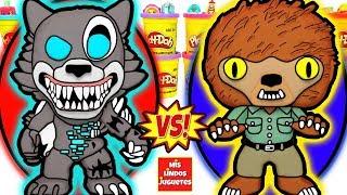 Huevos Sorpresa Gigantes de FNAF Twisted Wolf VS Hombre Lobo de Plastilina Play Doh en Espaol