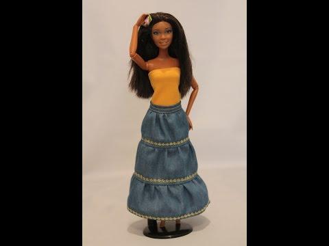 Одежда для куклы Барби, Шьем юбку без выкройки. \ Clothes for Barbie doll, How to make a long skirt. смотреть в хорошем качестве