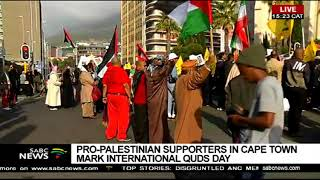 Pro-Palestinian supporters march in Cape Town to mark Quds Day