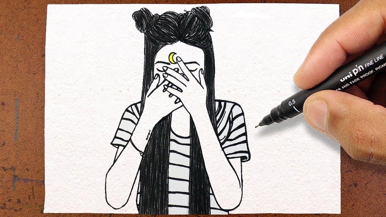 Como Desenhar Garota Tumblr Vamos Desenhar Desenho Lindo